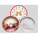 Melamine plate 21x2cm, 4 times assorted ,
