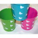 Metal bucket with handle and butterflies 10x9x6c