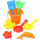 Sand toys set in the net 8-piece small colors so