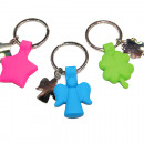 Key pendant silicone 8x4cm with metal star, E