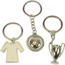 Schlüsselanhänger Fussball 10x4cm silber glänzend