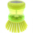 Dish brush with detergent dispenser 9x7cm green