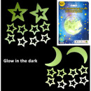 Luminous stars and moons 10 pieces Glow in the Dar