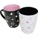 wholesale Household & Kitchen: Coffee cup LOVE 10,5x6x8,3cm 2 times assorted