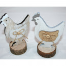 wholesale Decoration: Wooden chicken 14x9x6cm on wooden disc with memo p