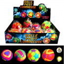 grossiste Jouets: Neon light ball 7.5cm with light, assorti 4 couleu
