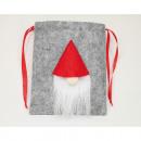 Filztasche mit Plüsch Santa, 19x16cm