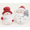 Snowman 6x6,5x4cm, biało-czerwony z brokatem,