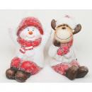 Pupazzo di neve e alci con cappuccio in pelliccia