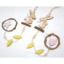 Hanger rabbit with rattan wreath 40x5cm