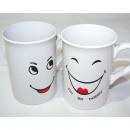 Großhandel Tassen & Becher: Kaffeebecher lachendes Gesicht 250ml, 2-fach sort