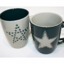Großhandel Tassen & Becher: Kaffeebecher Star-Design 350ml, 2-fach sortiert