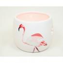 Lantern XL 8x6,5cm with flamingo, ceramic