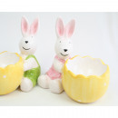 Bunny with egg cup XL 9x9x6cm 2 times assorted