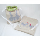 Linen bag with bunny or hen 20x16cm