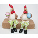 Rooster and hen as edge seat 17x10x8cm, 2-fold