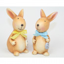 Bunny with silk bow 9x6,5x4cm 2 times assorted