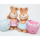 Bunny with Eggcup XL 10,5x10x6cm, 2 assorted sort