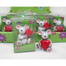 Mouse with heart made of synthetic resin 7x4,5x3,5