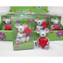 Großhandel Geschenkartikel & Papeterie: Maus mit Herz aus Kunstharz 7x4,5x3,5cm