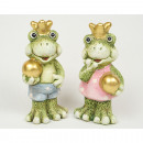 Frog King 9x4,5cm with golden ball and crown