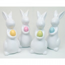 wholesale Figures & Sculptures: Bunny 12x6cm white glazed with colored egg
