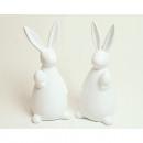 Bunny XL 13,5x6,5cm, white glazed 2 times assorted