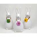 Bunny XL 14x6,5cm biały błyszczący z kwiatowym nas