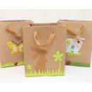 wholesale Decoration: Natural bag with felt application 15x12cm