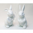 Porcelain rabbit 10x5cm with flower without egg, 2