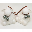Designer sheep with hanger and metal rattles 6x5cm