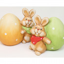 Bunny with XL egg 10x9cm 2 times assorted ceramic