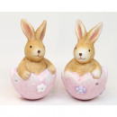 Bunny sitting in eggshell 8x5cm 2 times assorted