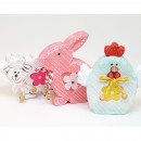Rabbit, sheep and hen 8x7,5cm 3 times assorted