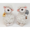 Sheep with flower and cuddly fur 8x5cm