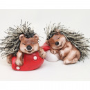 wholesale Figures & Sculptures: Hedgehog on toadstool with cuddly fur 8x5cm