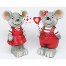 Premium mouse with metal heart 10x5cm, 2 times ass