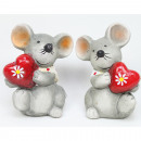 Cute mouse with shiny heart 7x 6cm, 2 assorted