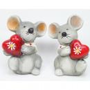 mayorista Articulos de broma: Lindo ratón con corazón brillante 7x 6cm, 2 surtid