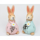 Rabbit with flowers and necklace 10x5cm, 2 assorte