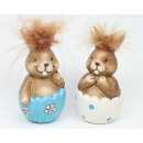 Bunny with cuddly hair 9x4cm 2 times assorted