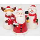 Łoś dzwonkowy, Święty Mikołaj i bałwan 11x7cm błys
