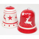wholesale Figures & Sculptures: Bell with moose design red / white 7x7x6cm