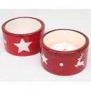 Tealight tartó piros / fehér 6x6x3,5cm