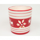 Lantern red / white 7x7cm with moose design
