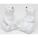 Niedźwiedź polarny z brokatem 9,5 x 6 cm ceramiki