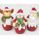 Santa, moose and snowman 10x6cm, with mica