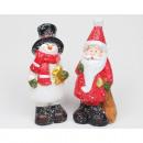 Keramisk jultomten och snögubbe 13,5x6x4cm