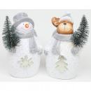 Jávorszarvas és hóember karácsonyfával 12x7x6cm