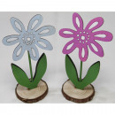 Beautiful colored wooden flower XL 14x7x5cm